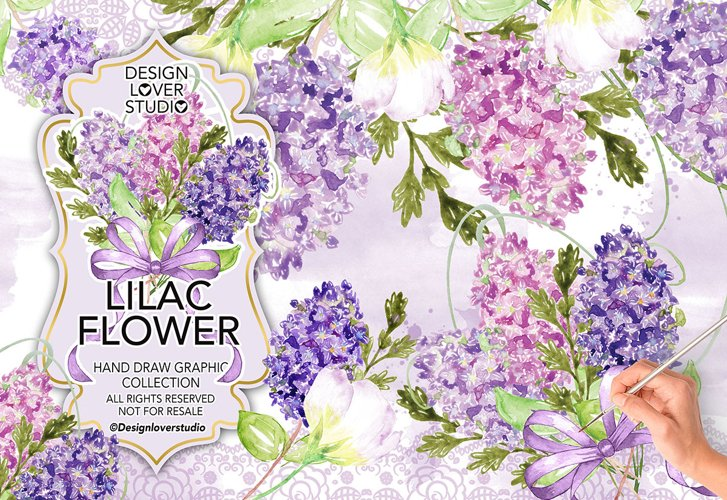 Watercolor LILAC FLOWERS DESIGN clipart