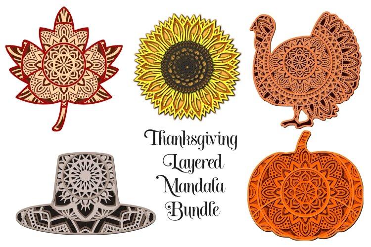 Thanksgiving Mandala SVG Bundle - 3D Layered Mandalas example image 1
