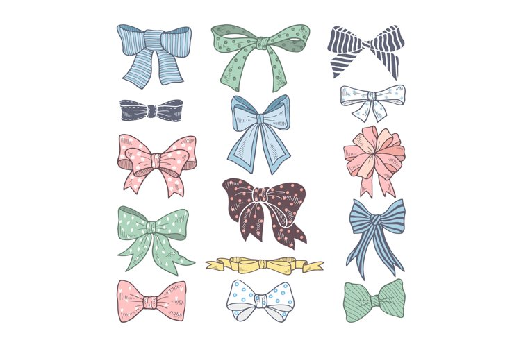 Retro bows. Beauty kit of woman accessories. Ribbons vector example image 1