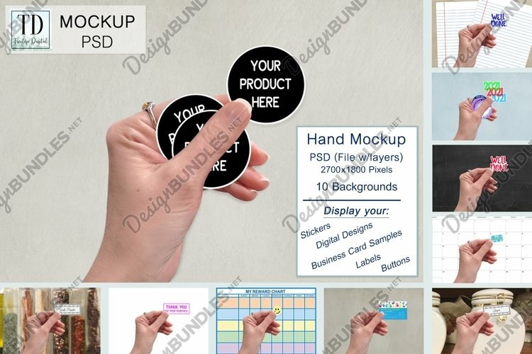 Hand Mockup for Stickers, Buttons, Tags, Label Mock-up