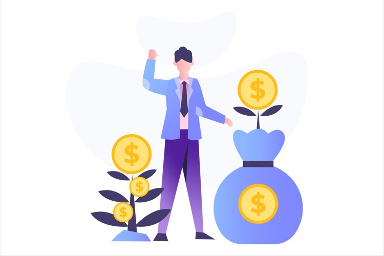 Investment Money Tree Flat Vector Illustration example image 1