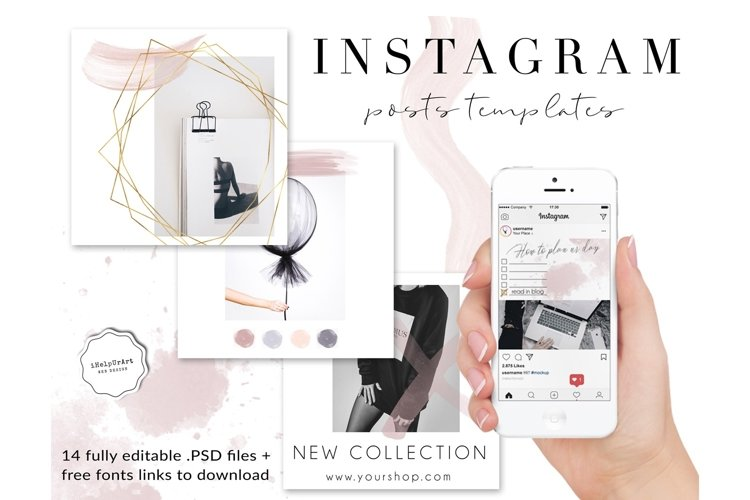 14 Editable Instagram Posts Templates PSD example image 1