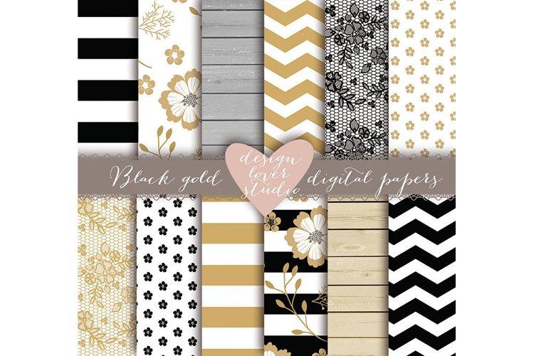 Rustic stripes gold black digital paper example image 1