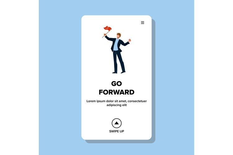 Go Forward Businessman Leader Holding Flag Vector example image 1