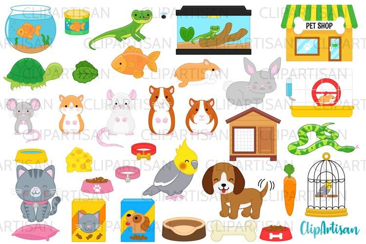 Pets Clipart, Pet Shop Clip Art, Puppy, Kitten, Goldfish PNG example image 1