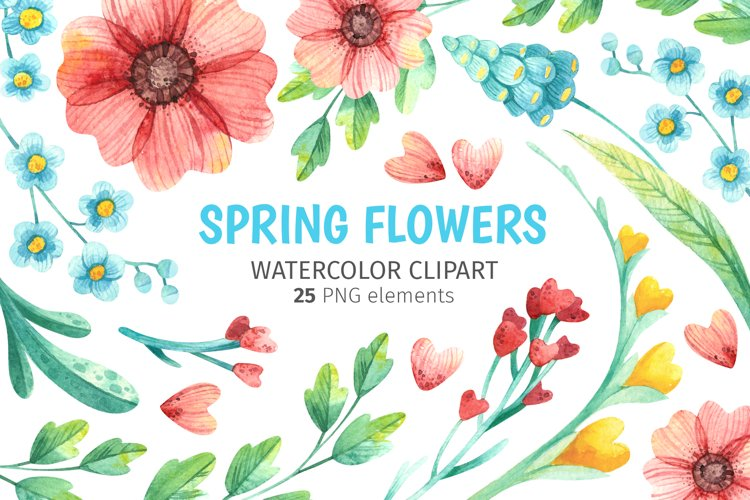 Spring wild floral Watercolor clipart for Mothers day