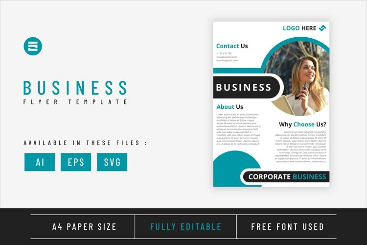Business flyer template with cyan blue geometry shapes A4
