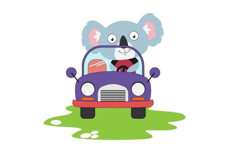 cute koala ride a car, simple vector illustration example image 1