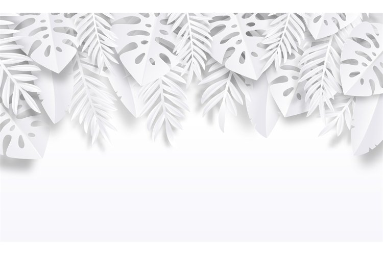 Paper cut tropic background. Summer trendy poster with exoti example image 1