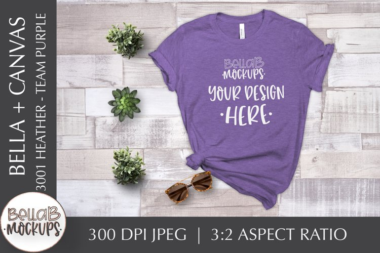 Bella Canvas 3001 Heather Woman's T Shirt Mockup-Team Purple example image 1