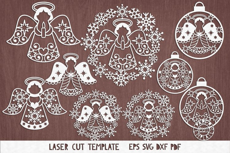 SVG Set of Christmas angel for Cricut, laser cutting. example image 1