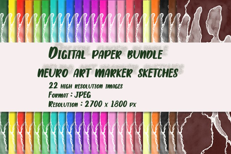 "Digital paper bundle neuro art marker sketches ""Daisies"" example image 1"