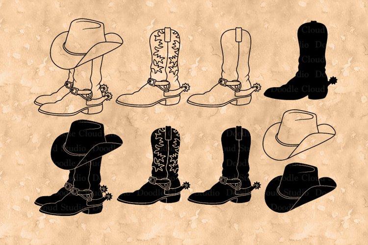 Cowboy Boot SVG, Cowboy Hat SVG, Cowboy Hat Boots Clipart.