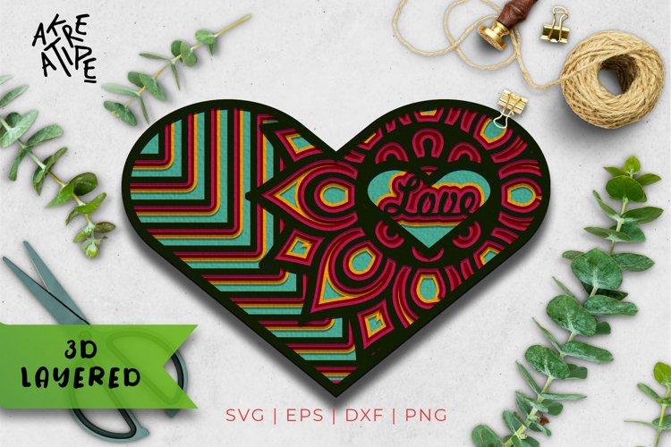 3D Layered Love SVG | Love Cut File | Mandala SVG | Vol 2 example image 1
