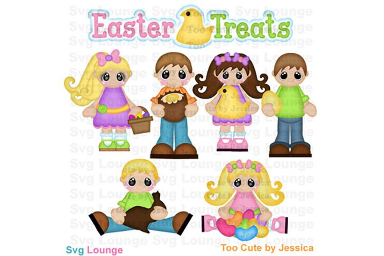 Easter Treats Kids with Chocolate Easter Bunny SVG Cut File example image 1