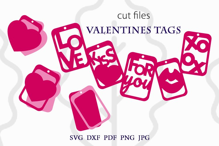 Valentines tags SVG Bundle, Valentines gift tags svg example image 1
