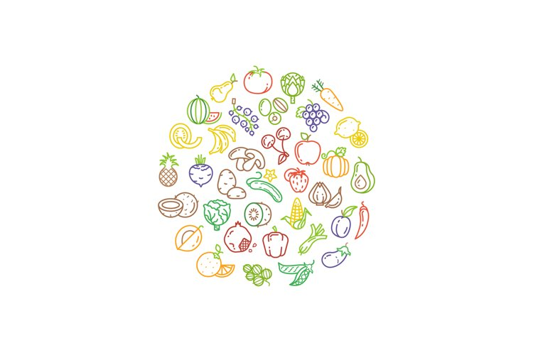Fruit and vegetable vector logo with line icons example image 1