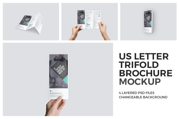Trifold Brochure Mock-Up in Hand Set example image 1