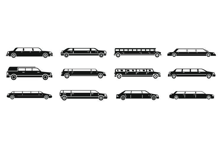 Modern limousine icons set, simple style example image 1