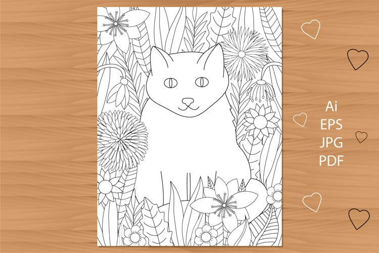 Cat and flowers coloring page. Floral coloring. example image 1