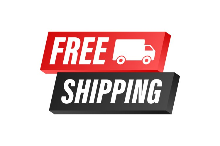 Free shipping. Badge with truck. Vector stock illustrtaion.