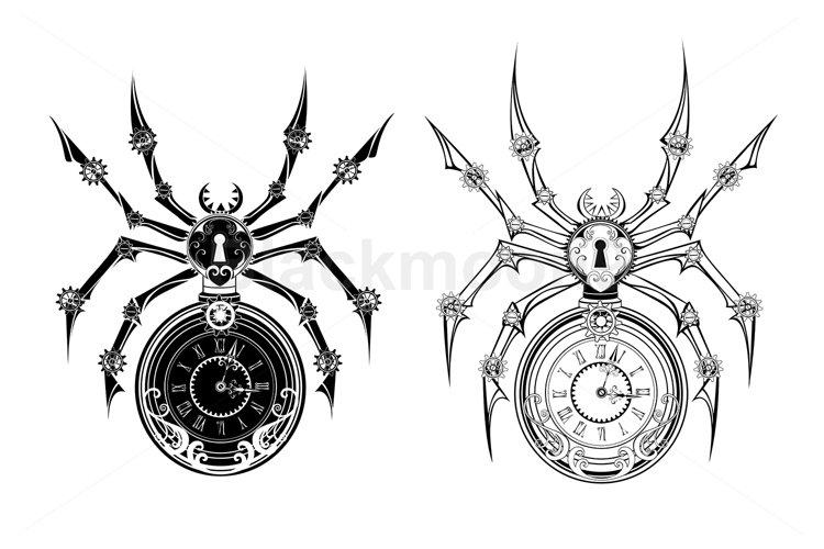 Monochrome Mechanical Spider Steampunk
