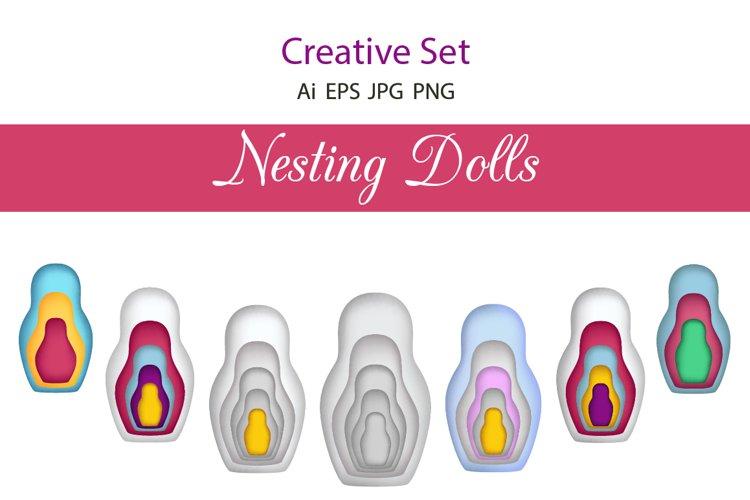 Nesting Dolls. Creative set. Paper cut.