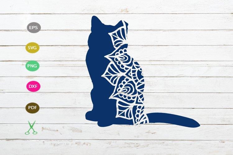 cat mandala svg,cat cut file,cat silhouette svg file design example image 1
