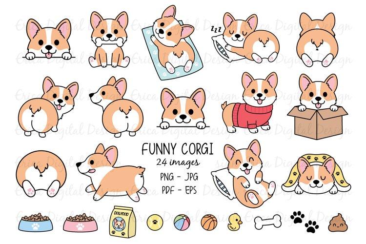 Funny Corgi Clipart set - 24 cute images - Dog - Bundle