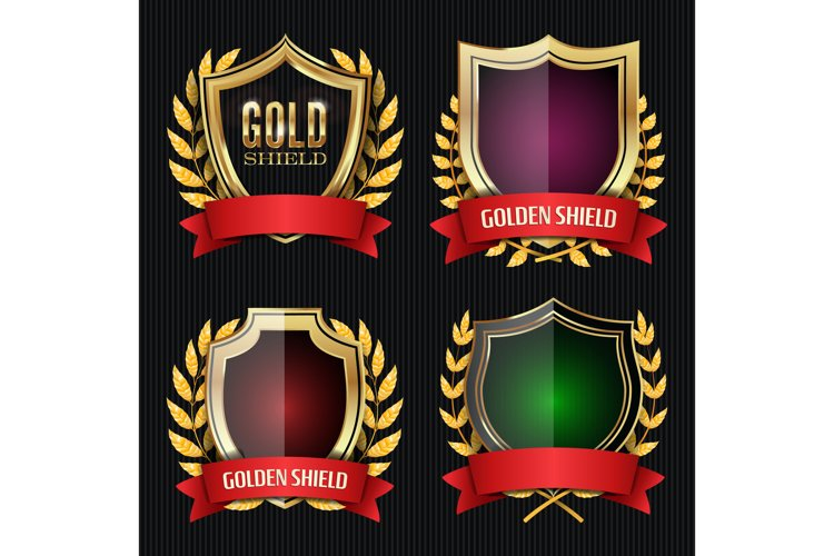 Golden Shield Set With Laurel Wreath And Red Ribbon. Vector example image 1