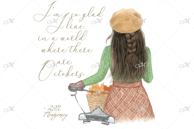 Girl with a Bicycle in October. Hand drawn illustration example image 1