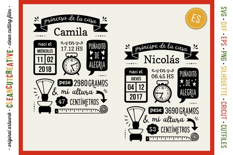 BIRTH STATS TEMPLATE - ES Spanish Baby Announcement SVG file