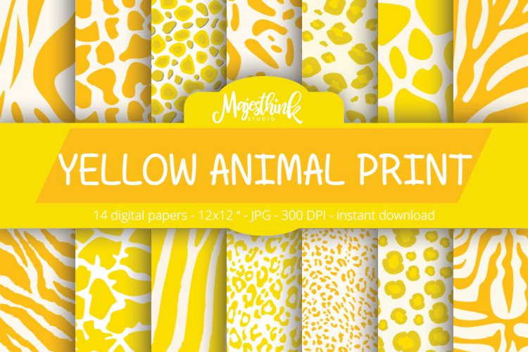 Yellow Animal Print Digital Paper - with zebra, tiger, leopard, girrafe pattern Scrapbook Paper example image 1