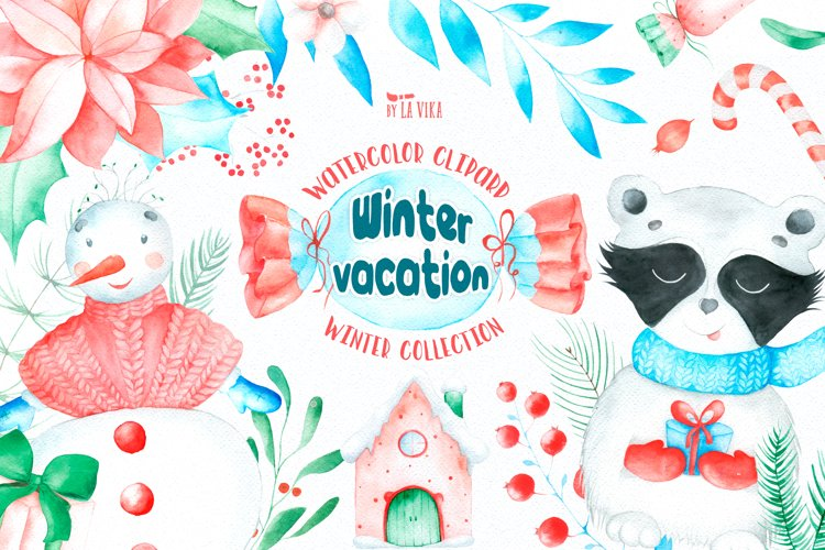 Watercolor Winter Clipart - Winter vacation  example image 1