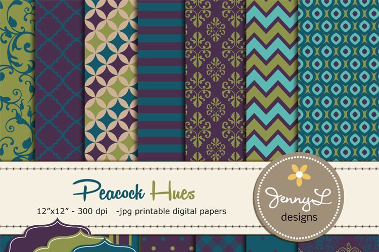 Peacock Hues Digital Papers  example image 1