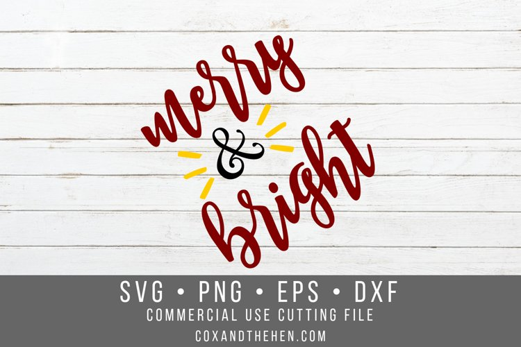 Merry and Bright SVG - Christmas Cutting File example image 1
