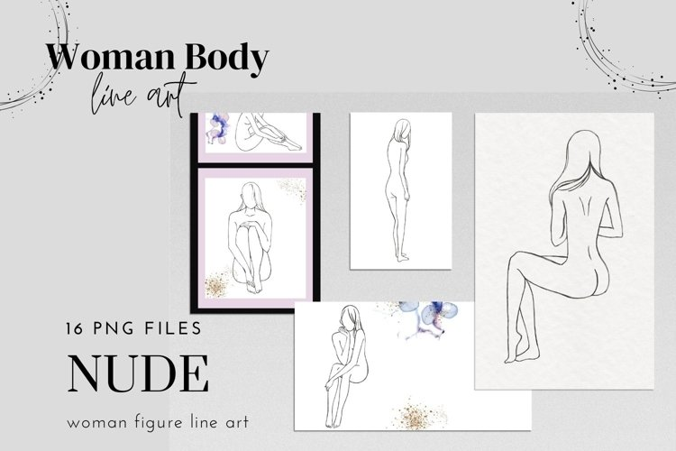 Woman Nude Line Drawing Clipart, Female Line Drawings example image 1