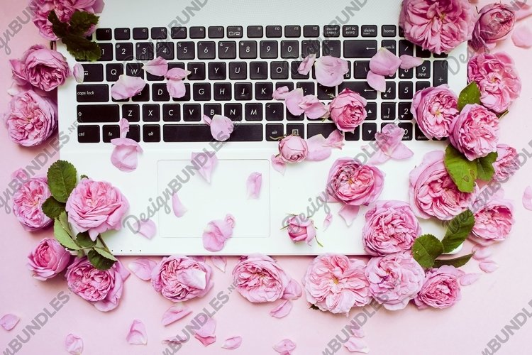 Postcard template. The laptop keyboard is strewn with pink r