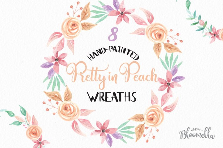 Watercolor Peach Clipart Wreaths Flowers Garlands Pastels Floral