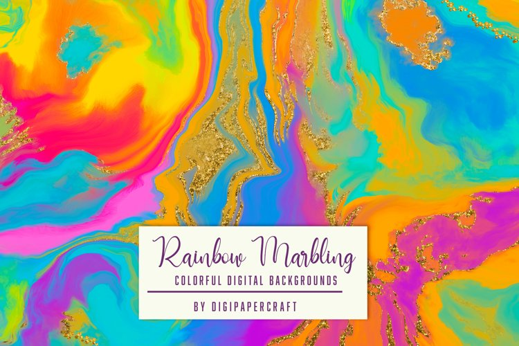 Rainbow marbling digital paper, Rainbow background, Pour Art example image 1