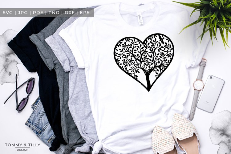 Heart Tree - Papercut Template SVG EPS DXF PNG PDF JPG example 6