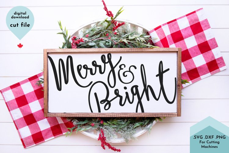 Merry and Bright Christmas SVG Cut File example image 1
