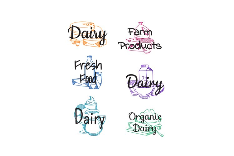 Vector piles of milk products example image 1