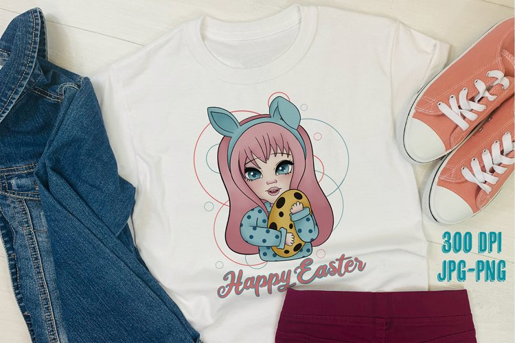 Bunny Girl Happy Easter for Sublimation