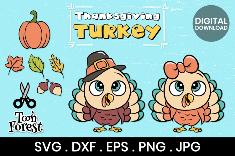 Turkey SVG, DXF, EPS, and Png cut files bundle for Kids