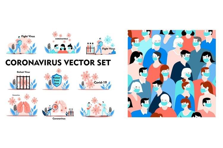 Coronavirus vector set. Covid-19 example image 1