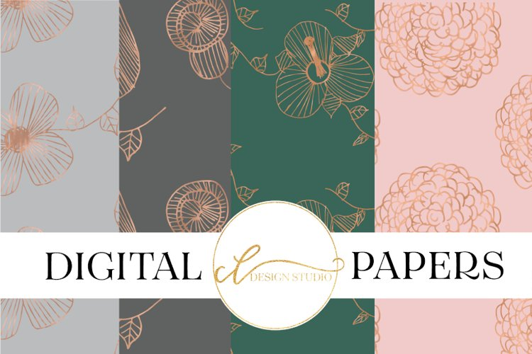Dipped in Rose Gold Digital Papers