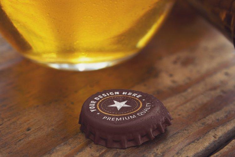 Opened Beer Cap & Cup Mockup