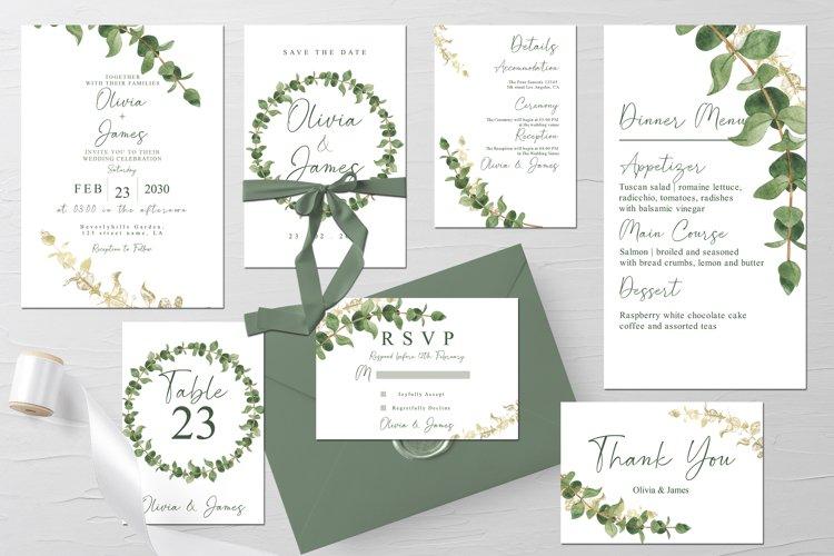 Watercolor Eucalyptus Wedding Suite Template