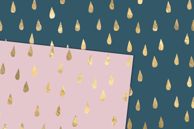 Gold Rain Drops Digital Paper example 1
